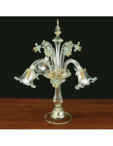 lampe de table en verre de Murano modèle Floreale cristal or bleu