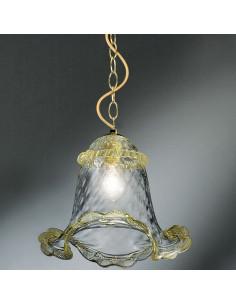 sospensione in vetro di murano modello calle cristallo oro