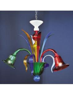 Lampadario in vetro di murano multicolor modello Marco Polo