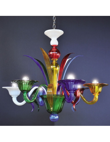 Multicolor Murano glass chandelier Peggy model