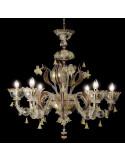 lampadario classico in vetro di murano oro rubino modello Visconti