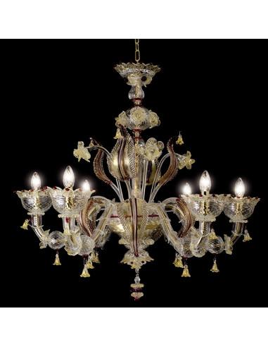 lustre classique en verre de Murano en or rubis, modèle Visconti