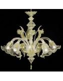 Lampadario classico in vetro di murano modello Ninfa oro