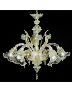 Classic Murano glass chandelier model Ninfa gold