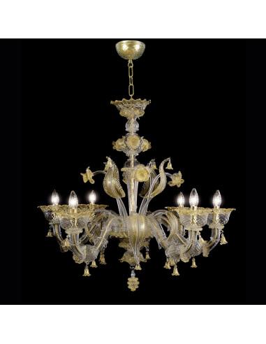 Lampadario classico ed elegante in vetro di Murano modello Veronese