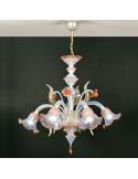 Lampadario in vetro di Murano opalino oro rosa modello ninfa opalino