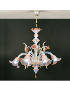 Opaline Murano glass chandelier rose gold opal Ninfa model