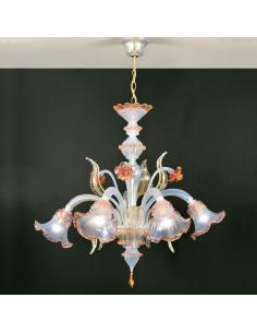 Lustre en verre de Murano opalin or rose modèle Ninfa opale