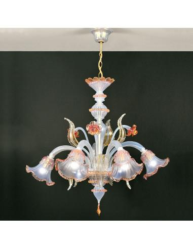 Opaline Murano glass chandelier rose gold opal Ninfa model