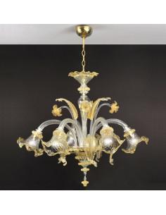 Lampadario in vetro di Murano Oro modello Ca' Venier