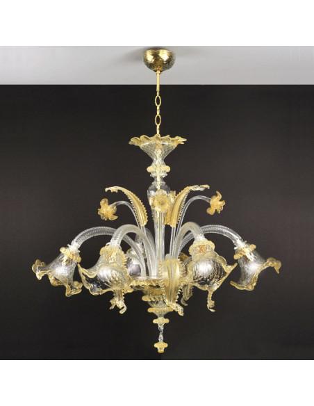 Lustre en verre de Murano dans l'Or, le modèle de Ca' Venier