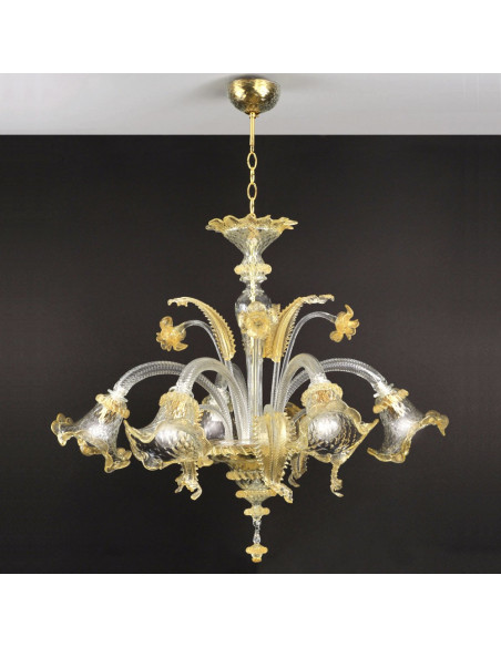 Murano glass chandelier in Gold, model Ca' Venier