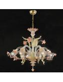 lampadario in vetro di murano oro rosa modello ca venier