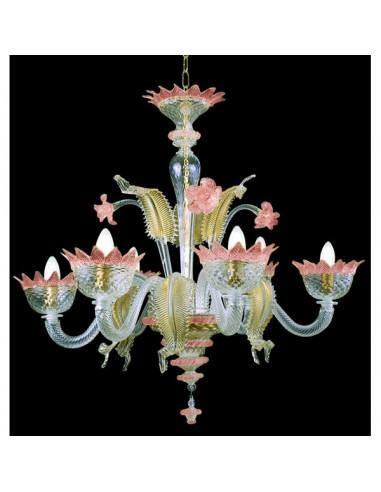 pink gold murano glass chandelier muranese model