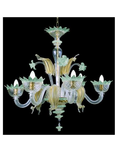 blue light gold murano glass chandelier muranese model
