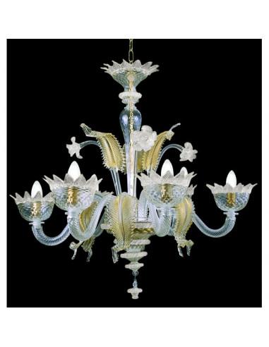 white gold murano glass chandelier muranese model