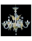 blue gold murano glass chandelier muranese model