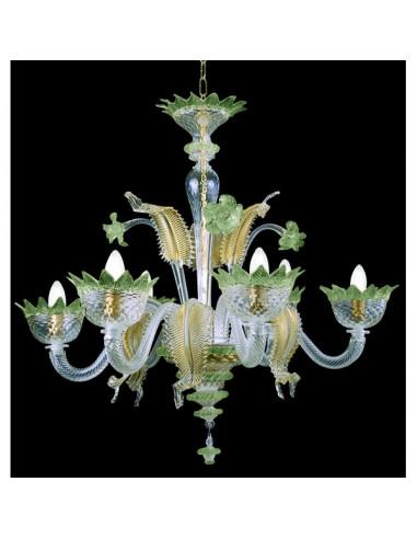 green gold murano glass chandelier muranese model