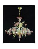 lampadario in vetro di murano oro rosa ametista modello ca venier