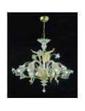lampadario in vetro di murano oro azzurro modello ca venier