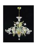lampadario in vetro di murano oro bianco modello ca venier