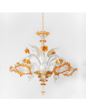 lampadario in vetro di murano oro arancio modello ca venier