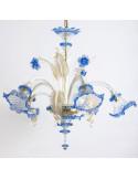 lampadario in vetro di murano oro blu modello ca venier