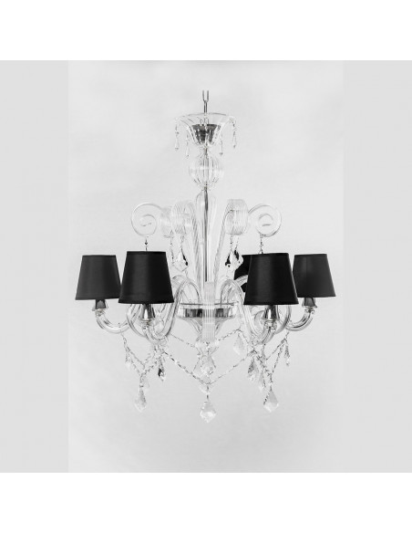 Murano chandelier with strass and lamp-shades mod: High Water