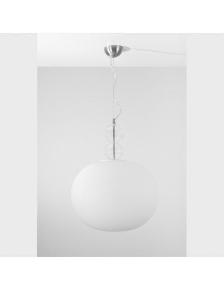 Lampadario a palla in vetro di Murano modello White Suspension