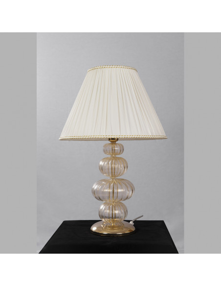 Lamp gold and white in Murano glass, mod: Orchidea