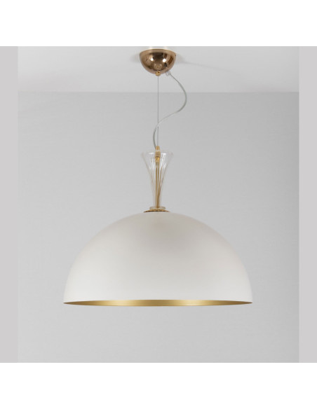 Chandelier pendant metal gold and white with details in murano glass, mod: Metal Suspension
