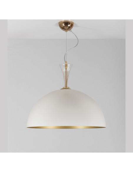 Lampadario a sospensione in metallo bianco e oro con dettagli in vetro di murano mod: Metal Suspension