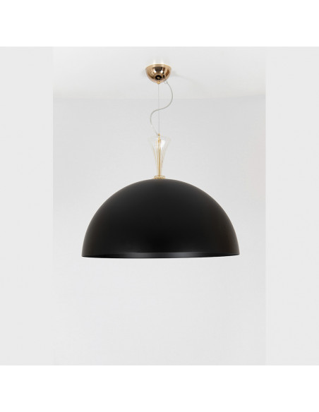 Chandelier pendant metal black and white with details in murano glass, mod: Metal Suspension