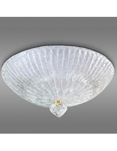 plafoniera in vetro di murano modello Linea Rugiada Cristallo