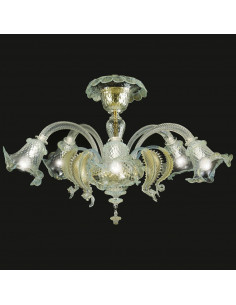 Murano glass ceiling light model Ca 'Venier crystal gold
