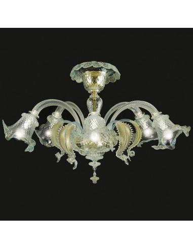 Plafoniera in vetro di murano modello Ca' Venier cristallo oro
