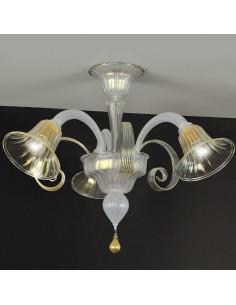 plafoniera in vetro di murano opalino oro modello lodoli